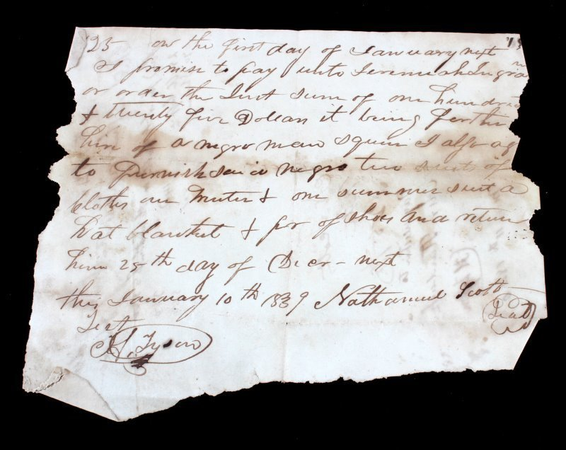1839 SLAVE HIRE DOCUMENT NEGRO MAN FOR $100