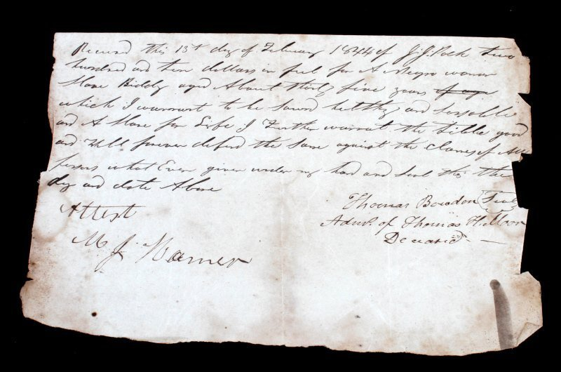 1844 SLAVE DOCUMENT WOMAN HOME BIDDY $110.00