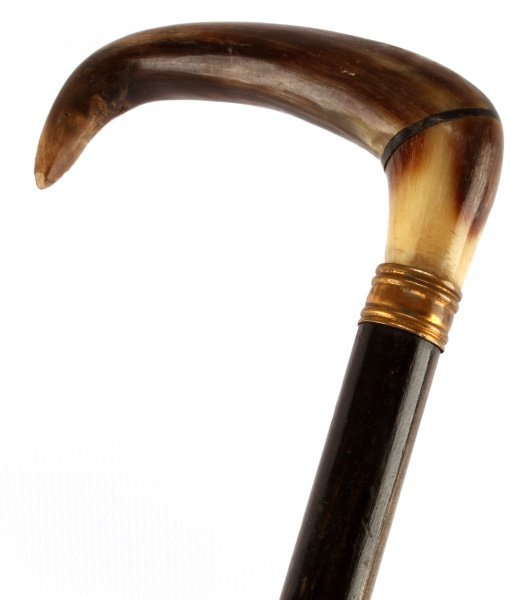 "ANTIQUE SWAGGER STICK WITH HORN HANDLE 21"" TALL - 2"