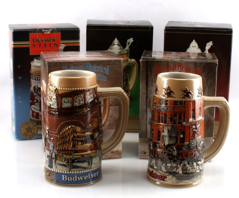 5 BUDWEISER STEINS INCLUDING OLYMPIC ONE & MORE