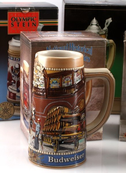 5 BUDWEISER STEINS INCLUDING OLYMPIC ONE & MORE - 2
