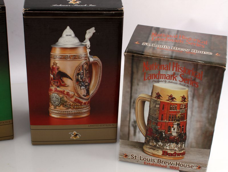5 BUDWEISER STEINS INCLUDING OLYMPIC ONE & MORE - 5
