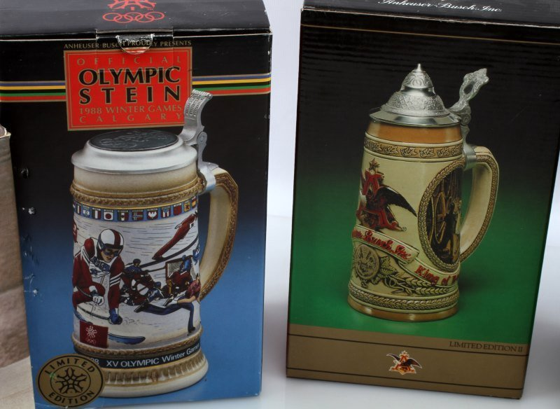 5 BUDWEISER STEINS INCLUDING OLYMPIC ONE & MORE - 6