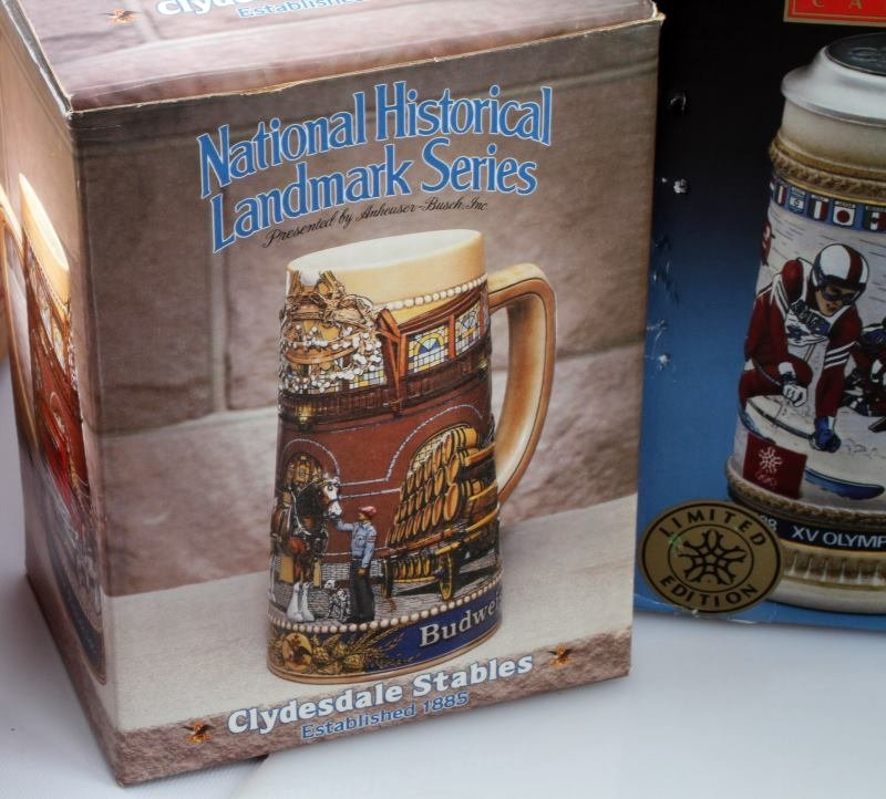 5 BUDWEISER STEINS INCLUDING OLYMPIC ONE & MORE - 7