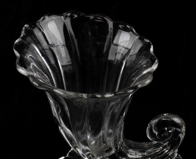VINTAGE DEPRESSION GLASS CORNUCOPIA GLASS VASE LOT - 3