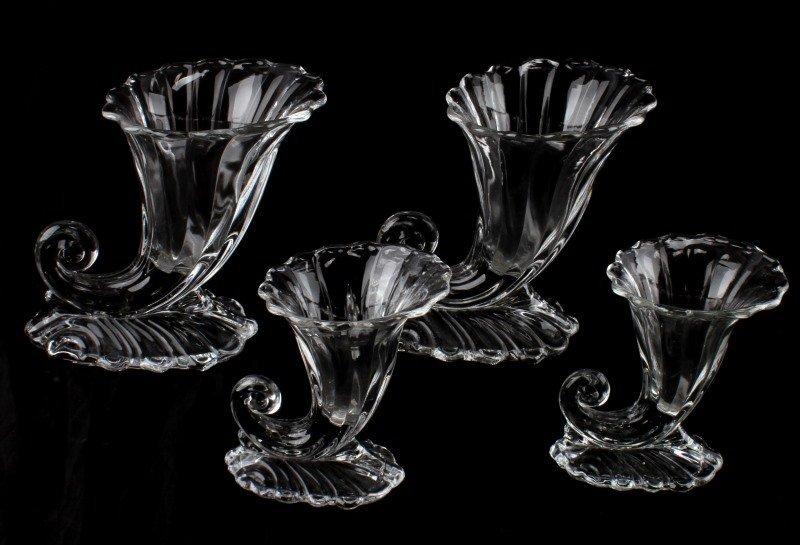 VINTAGE DEPRESSION GLASS CORNUCOPIA GLASS VASE LOT - 4