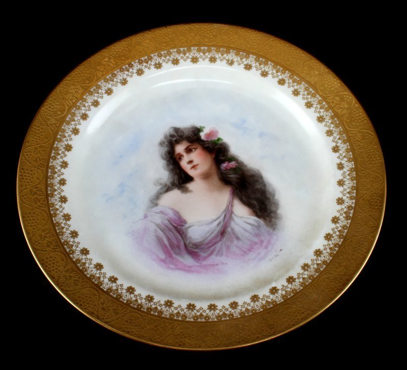ANTIQUE LIMOGE PORCELAIN HANDPAINTED PLATE MARKED
