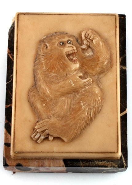 C1969 AMR VINTAGE MONKEY MARBLE PAPER WEIGHT
