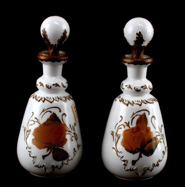 LOT OF 2 MATCHING BARBER BOTTLES WITH STOPPERS