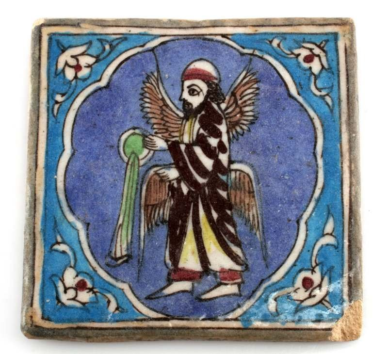 ANTIQUE MIDDLE EASTERN HAND PAINTED SIGNED TILE