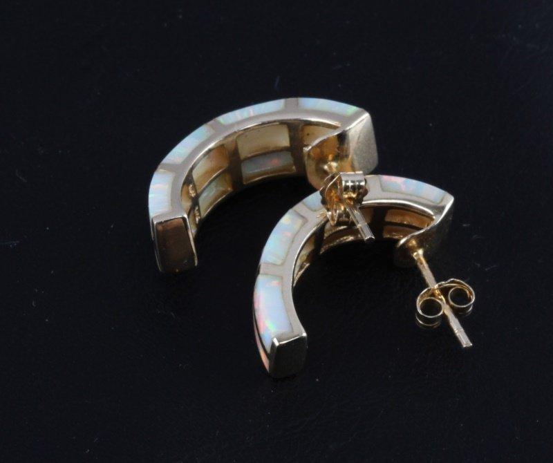 14KT YELLOW GOLD HALF HOOP EARRINGS WITH OPAL - 3