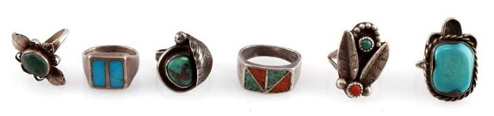 LOT OF 6 NATIVE AMERICAN STYLE RINGS STERLING