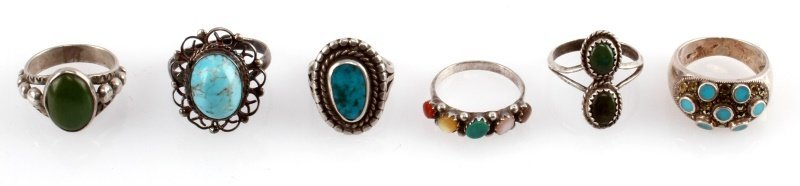 STERLING SILVER VINTAGE RING LOT SIX TURQUOISE