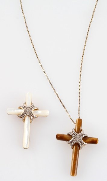 PAIR OF STERLING SILVER CROSSES TIGER EYE & MOP - 2