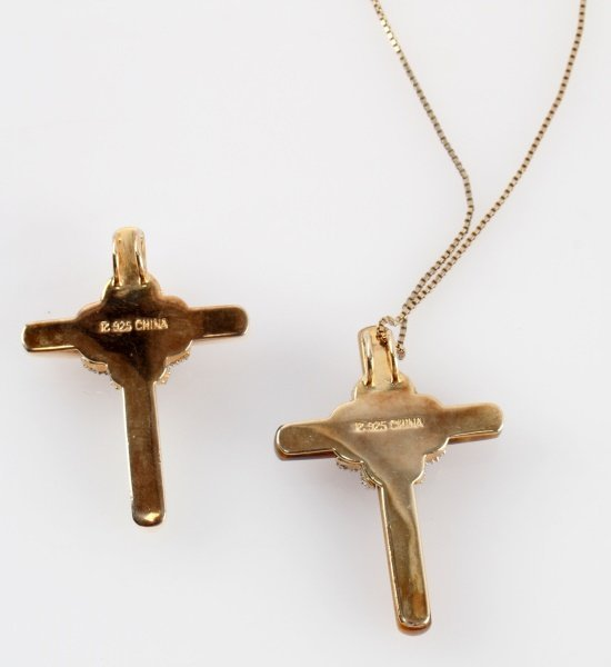 PAIR OF STERLING SILVER CROSSES TIGER EYE & MOP - 3