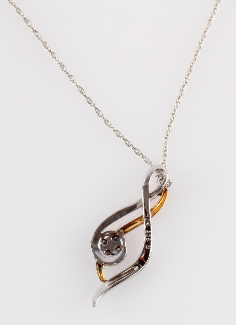 STERLING AND GOLD PENANT ON SILVER CHAIN - 3