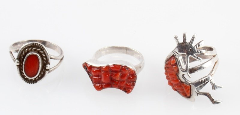 STERLING NATIVE AMERICAN RINGS CORAL INLAY