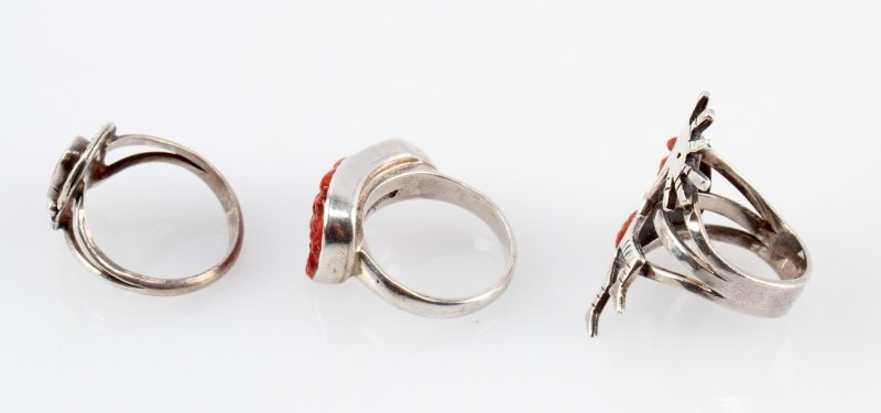 STERLING NATIVE AMERICAN RINGS CORAL INLAY - 2