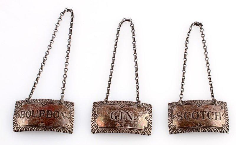 STERLING SILVER LIQUOR LABELS SCOTCH GIN BOURBON