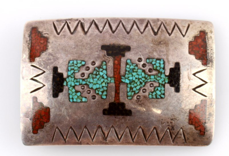 NATIVE AMERICAN STERLING SILVER INLAID BELT BUCKLE