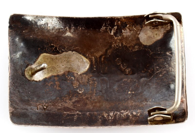 NATIVE AMERICAN STERLING SILVER INLAID BELT BUCKLE - 2