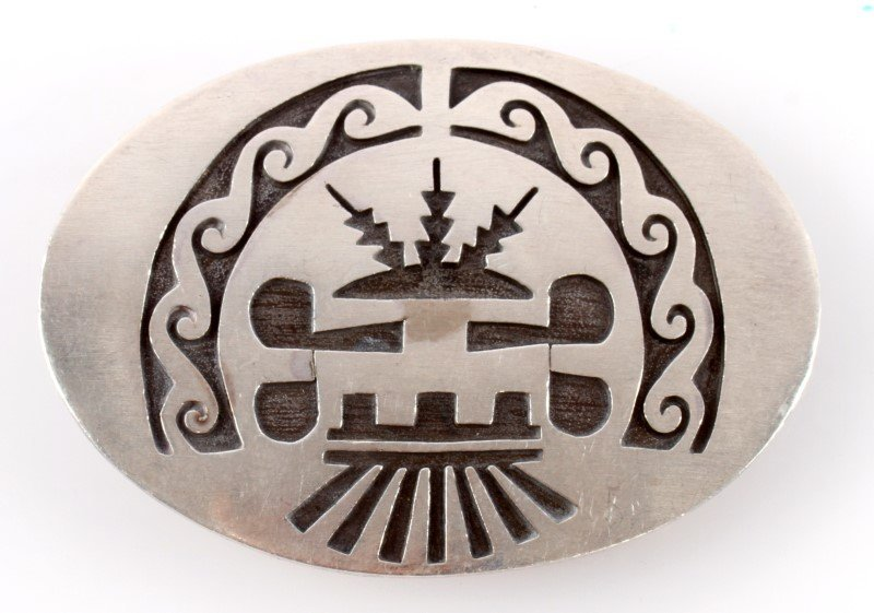 HALLMARKED SILVER NATIVE AMERICAN BELT BUCKLE