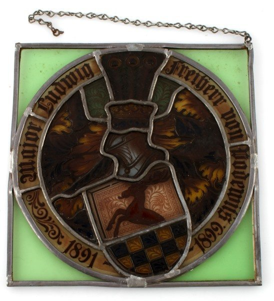 GERMAN ARMY STAINED AND LEAD GLASS WINDOW HANGING