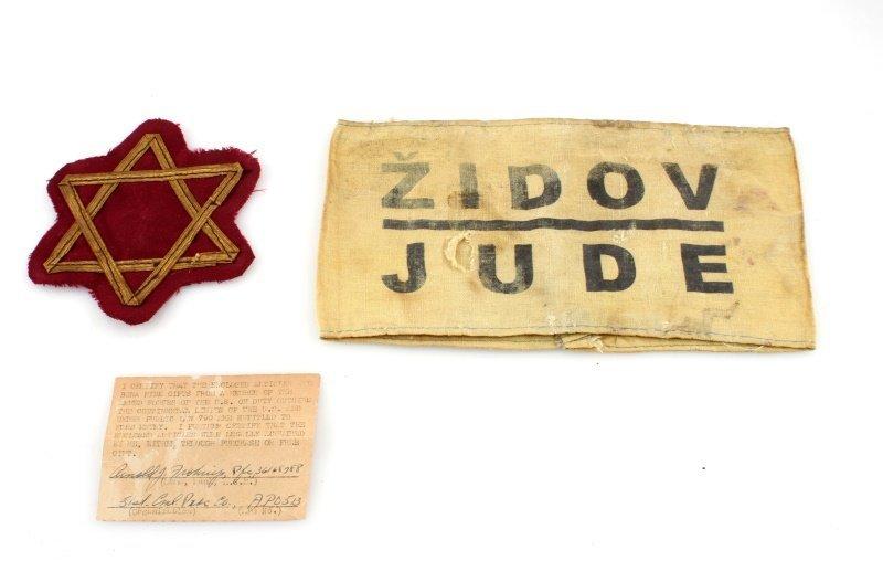 HOLOCAUST YUGOSLAV JEWISH ID ARMBAND AND STAR