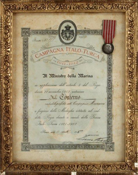 1912 ITALIAN TURK CAMPAIGN MEDAL & DOCUMENT