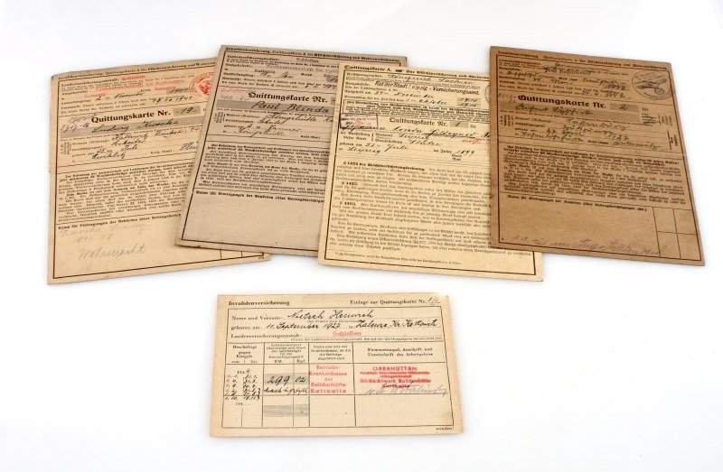 LOT OF 4 WWII GERMAN DISABILITY INSURANCE CARDS