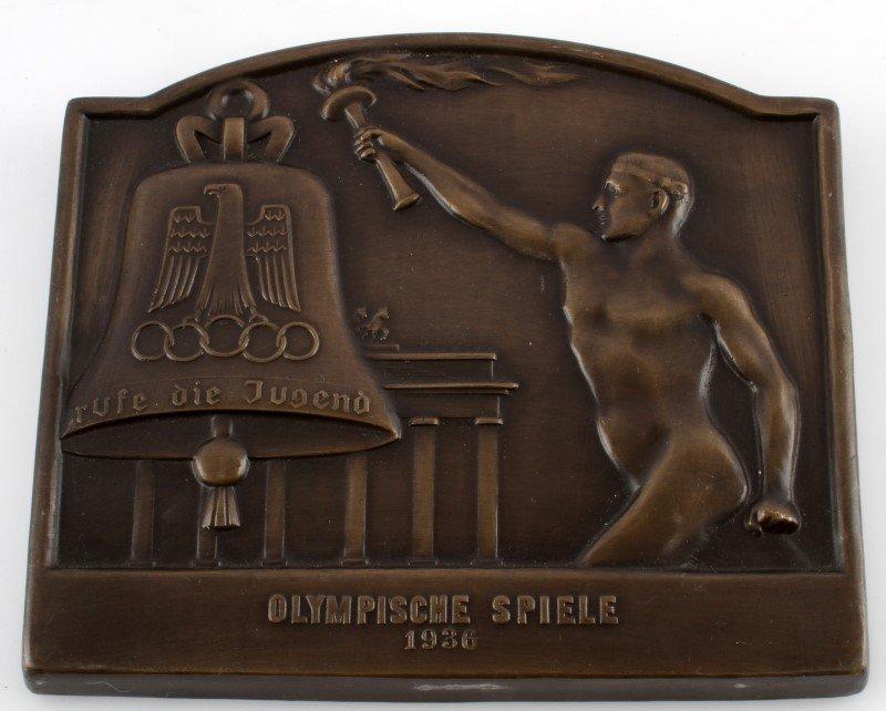 WWII THIRD REICH GERMAN OLYMPIC BRONZE PLAQUE
