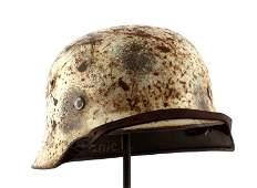 WWII GERMAN 3RD REICH M35 SNOW CAMOFLAGE HELMET