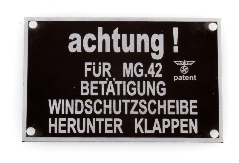 ALUMINUM SIGN FROM A WWII GERMAN ARMORED VEHICLE