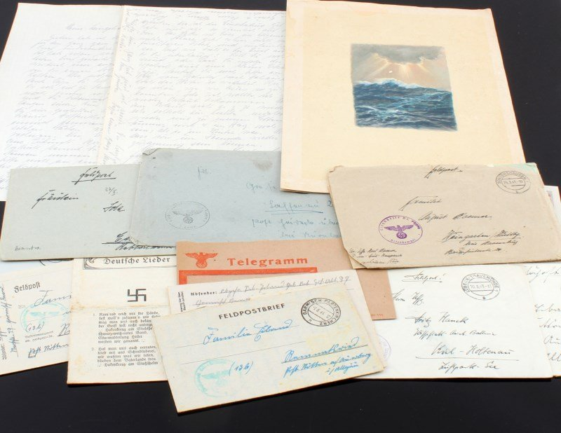 GROUPING OF WWII LETTERS POSTCARDS AND MORE