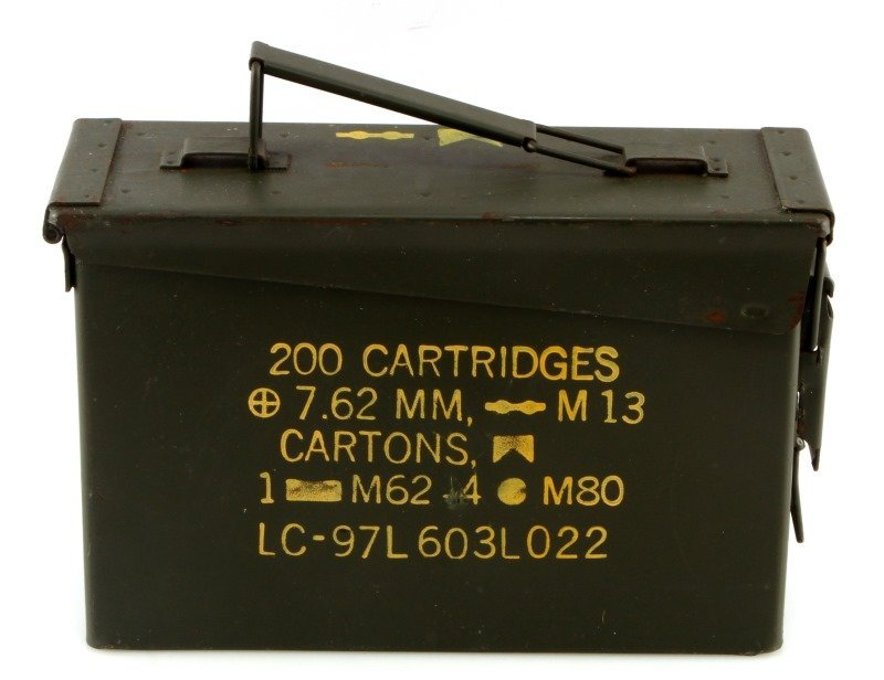 US AMMO CAN W 100 AK 5.56 STRIPPER CLIPS CHARGERS