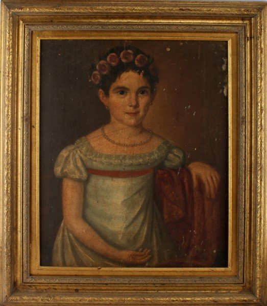 19TH CENTURY OIL ON BOARD YOUNG GIRL