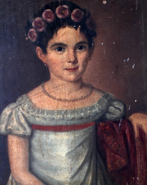 19TH CENTURY OIL ON BOARD YOUNG GIRL - 2