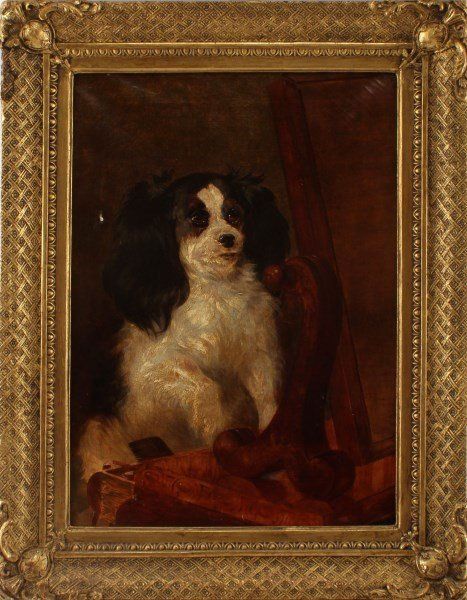 ANTIQUE KING CHARLES SPANIEL OIL CANVAS PAINTING