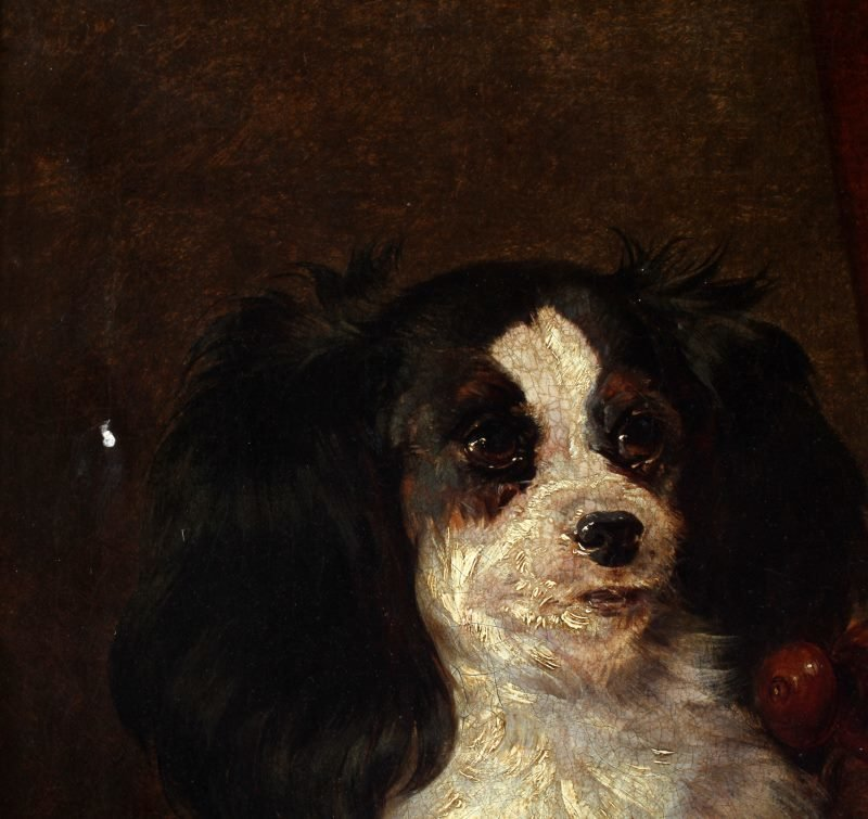 ANTIQUE KING CHARLES SPANIEL OIL CANVAS PAINTING - 3