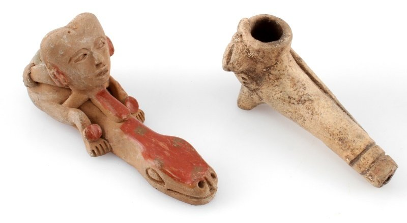 PRE-COLUMBIAN REPRODUCTION FOUR PIPE ARTIFACTS - 2
