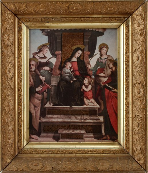 MADONNA & CHILD & APOSTLES PRINT IN ANTIQUE FRAME