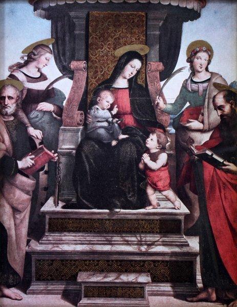 MADONNA & CHILD & APOSTLES PRINT IN ANTIQUE FRAME - 2