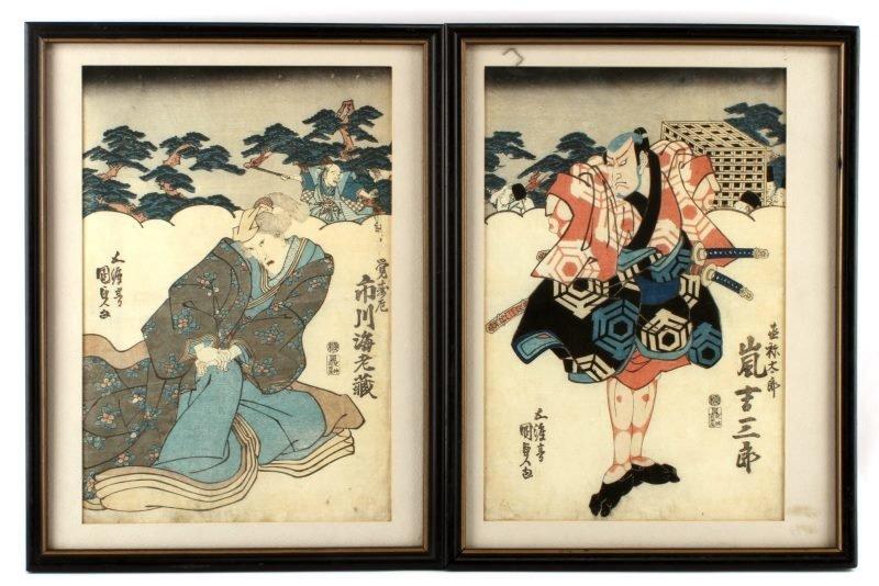 PAIR OF JAPANESE WOODBLOCK PRINTS SAMURAI 20TH C