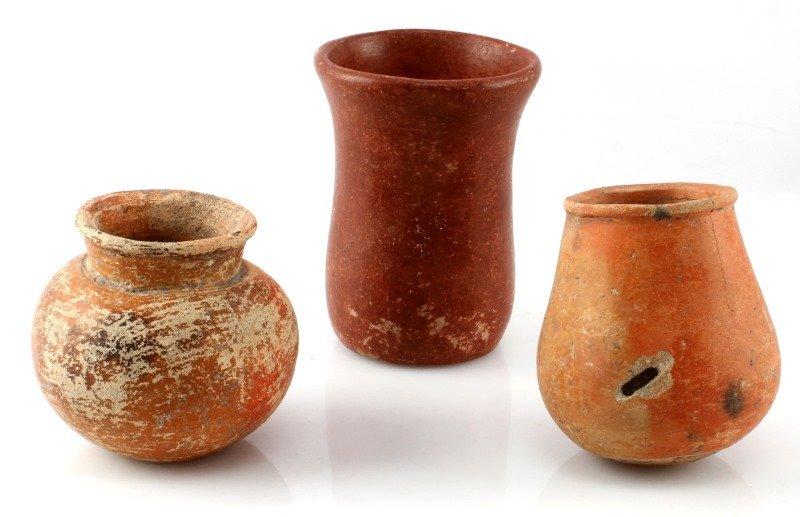 LOT OF 3 BELIZEAN PRE-COLUMBIAN FIRED CLAY VESSELS