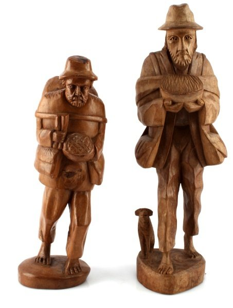 2 VINTAGE CARVED WOODEN SCULPTURES TRAVEL OLD MEN
