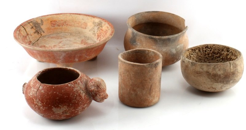 PRE COLUMBIAN MAYAN POTTERY PIECES LOT OF 5 BELIZE