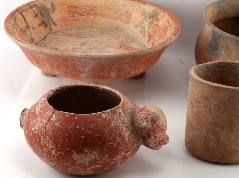 PRE COLUMBIAN MAYAN POTTERY PIECES LOT OF 5 BELIZE - 2