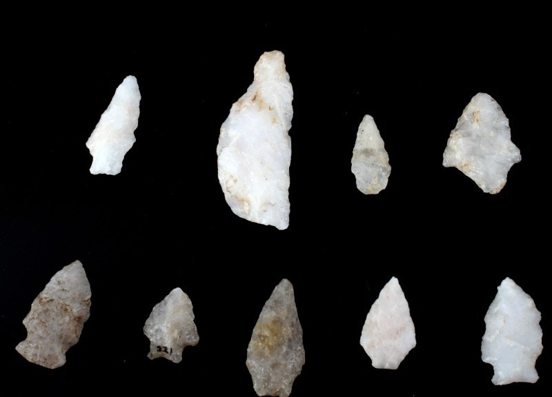 QUARTZ ARROWHEAD LOT LARGE SPEAR KNIFE & POINTS - 2