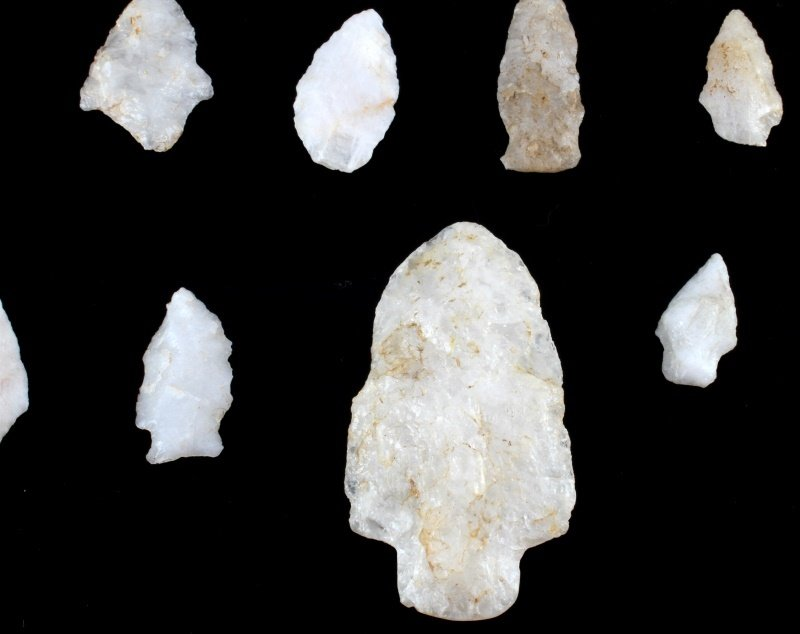 QUARTZ ARROWHEAD LOT LARGE SPEAR KNIFE & POINTS - 3