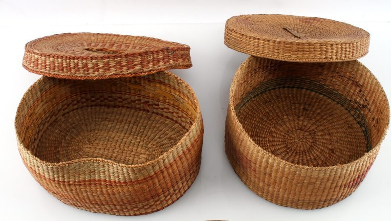 3 ANTIQUE NATIVE AMERICAN INDIAN BASKET LOT - 3